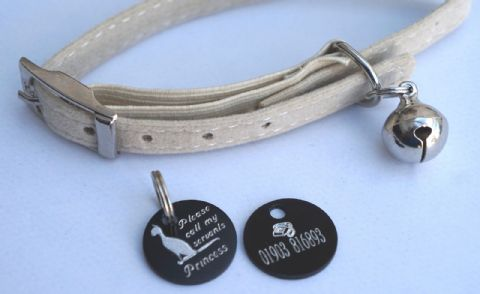 BEIGE SOFT VELVET CAT COLLAR & FUNNY PERSONALISED CAT ID TAG - CALL MY SERVANTS